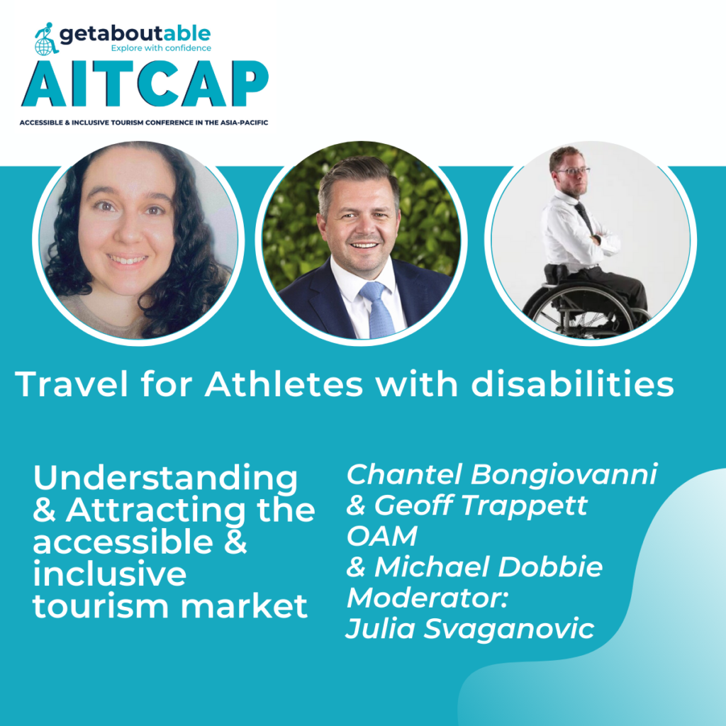 Panel discussion AITCAP Travel for athletes with disabilities Geoff Trappett Chantel Bongiovanni Michael Dobbie