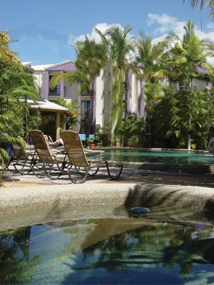 A beautiful tropical pool with some sun lounges, surrounding them is greenery including lots of ferns